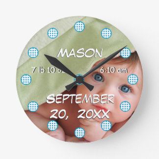 Personalized Wall Clock Baby Boy Stats