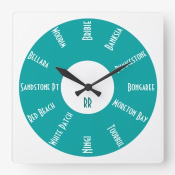 Personalized Wall Clock W/ Australian Places Teal by DigitalDreambuilder at Zazzle