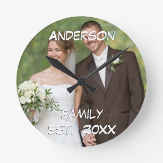 Personalized Wall Clock Wedding Couple's Photo