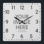 "Personalized Wall Clocks Custom Big Square Photo<br><div class=""desc"">Personalized Wall Clocks Custom Big Square Photo. Feature your own photo and text on this clock. The numbers stay on your image. Perfect for decorating your home,  kitchen or office. For best results use a square image.</div>"