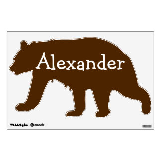 Personalized Wall Decal for Boys, Brown Bear