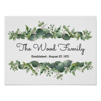 Personalized Wall Floral Watercolor Family Decor