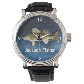 Personalized Walleye Pike on Blue Wristwatch