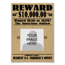 Personalized Wanted Dead or Alive Poster