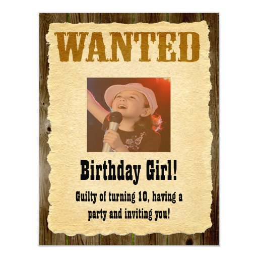 Personalized Wanted Poster, Western Style Birthday 4.25x5.5 Paper Invitation Card