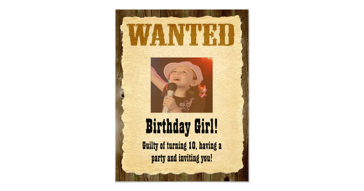 Personalized Wanted Poster, Western Style Birthday Invitation ...