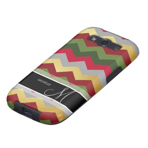 Personalized Warm Chevron Pattern with monogram Samsung Galaxy SIII Covers