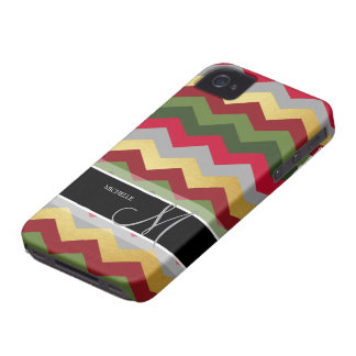 Personalized Warm Chevron Pattern with monogram iPhone 4 Case