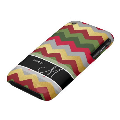 Personalized Warm Chevron Pattern with monogram iPhone 3 Case-Mate Cases