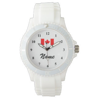 Personalized watch with name and Canadian flag
