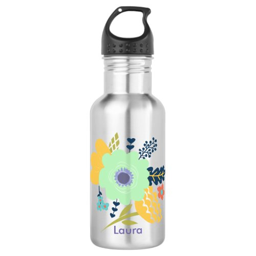Personalized water bottle with flower design