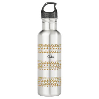 Personalized water bottle with gold triangles