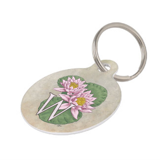 Personalized Water Lilies Monogram Pet ID Tag