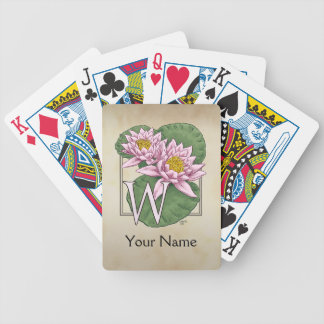 Personalized Water Lilies Monogram Bicycle Playing Cards