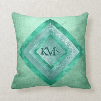 Personalized Water Mint Monogram Pillow