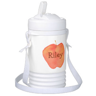 Personalized Watercolor Apple Beverage Cooler