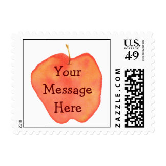 Personalized Watercolor Apple Postage
