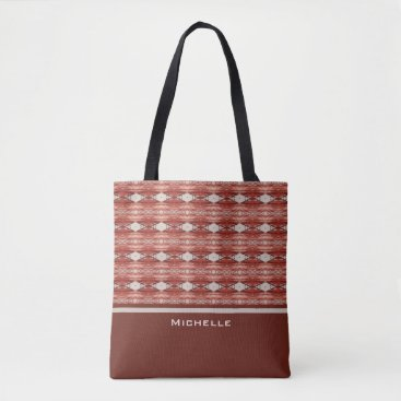 Aztec Themed Personalized | Watercolor Aztec Tribal Geo Pattern Tote Bag