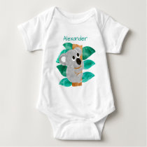 Personalized Watercolor Baby Koala Bear Animal Baby Bodysuit