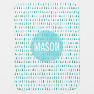 Personalized Watercolor Blue Baby Blanket