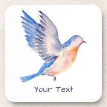 Personalized Watercolor Blue Bird Beverage Coaster
