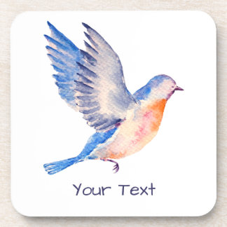 Personalized Watercolor Blue Bird Beverage Coaster