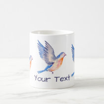 Personalized Watercolor Blue Bird Coffee Mug