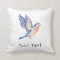 Personalized Watercolor Blue Bird Throw Pillow