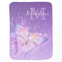 Personalized Watercolor Butterfly Purple Monogram Baby Blanket