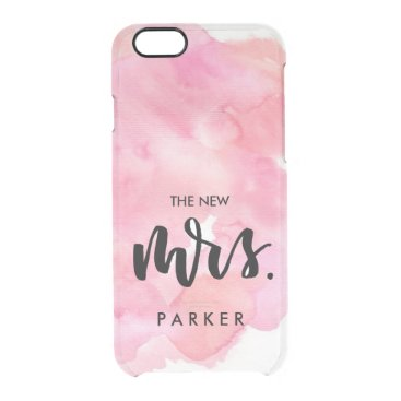 Personalized Watercolor Calligraphy Mrs Wedding Clear iPhone 6/6S Case