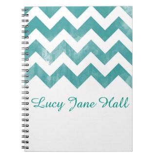 Personalized Watercolor Chevron Notebook