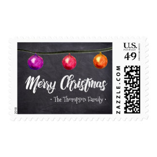 Personalized Watercolor Christmas balls chalkboard Postage