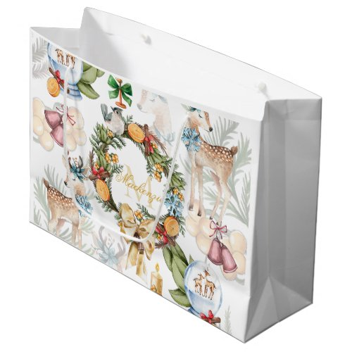 Personalized Watercolor Christmas Large Gift Bag