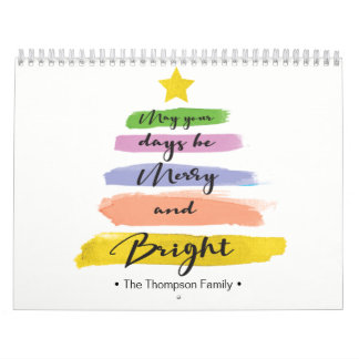 Personalized, Watercolor Christmas Tree, Photo Calendar