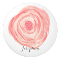 Personalized Watercolor coral pink Flower Ceramic Knob