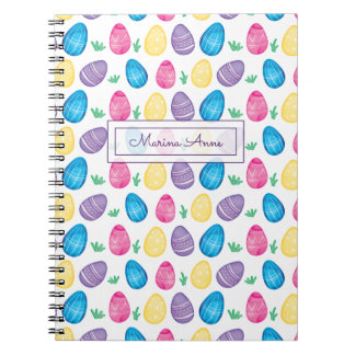 Personalized Watercolor Easter Egg Pattern Notebook