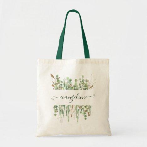 Personalized Watercolor Eucalyptus Greenery Pretty Tote Bag