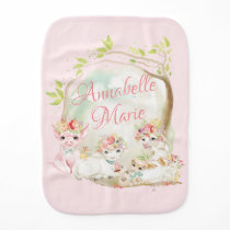 Personalized Watercolor Farm Animals Name Baby Burp Cloth