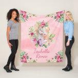 "Personalized Watercolor Floral Unicorn Fleece Blanket<br><div class=""desc"">Pink fleece blanket with watercolor floral unicorn personalized with name or your custom text.</div>"