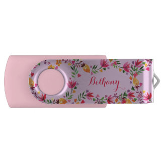 Personalized Watercolor Flowers and Hearts Flash Drive