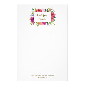 Personalized | Watercolor Flowers Scripture Stationery