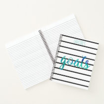Personalized Watercolor Green Blue Goals Trendy Notebook