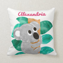 Personalized Watercolor Koala Bear Animal Girls Throw Pillow