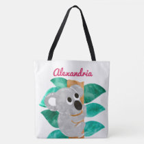 Personalized Watercolor Koala Bear Animal Girls Tote Bag
