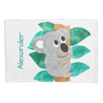 Personalized Watercolor Koala Bear Kids Animal Pillow Case