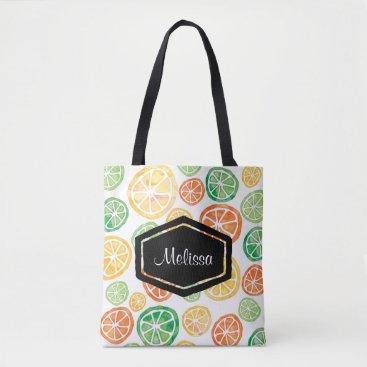 Personalized watercolor lemons limes tote bag