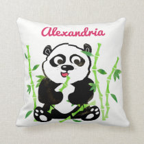 Personalized Watercolor Panda Bear Animal Girls Throw Pillow
