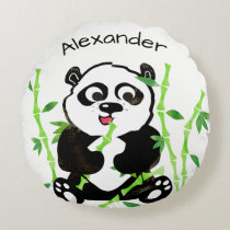 Personalized Watercolor Panda Bear Animal Kids Round Pillow