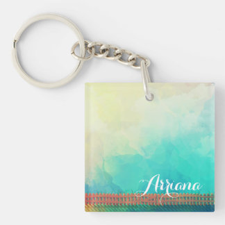 Personalized Watercolor Picket Fence Keychain
