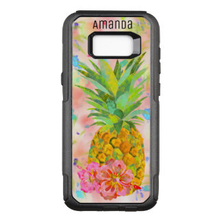 Personalized watercolor pineapple and hibiscus OtterBox commuter samsung galaxy s8+ case